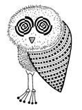 Original artwork of owl, ink hand drawing in Royalty Free Stock Photo