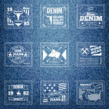 Original authentic denim jeans labels Stock Photo