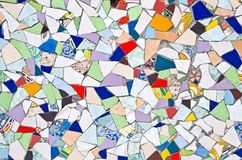 The original background created from multicolored pieces of broken tiles. Mosaic. Stock Photography