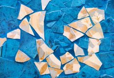 Original background, pieces of broken tiles, blue, turquoise and beige royalty free stock photography