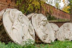 Original bas-reliefs of Christ the Saviour, demolished in 1931 i. Marble bas-reliefs, The Saviour, Virgin and Child, St. Jonah, Archbishop of Novgorod. Made of Royalty Free Stock Photos
