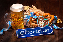 Original bavarian pretzels with beer stein Royalty Free Stock Photos