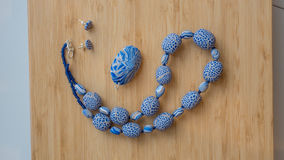 Original beads from polymeric hand-worked clay Royalty Free Stock Images