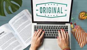 Original- begrepp för Copyright äktt patenterat märkesdiagram Arkivfoto