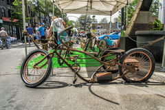 Original Bicycle. Street fair in Little Italy, Montreal Stock Image