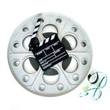 Original big movie reel for 35mm cinema projector with clapper Royalty Free Stock Image