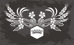Original   black  Floral  pattern with crown Royalty Free Stock Image