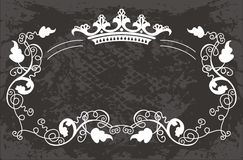 Original   black  Floral  pattern with crown Stock Photos