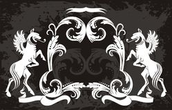 Original   black  Floral  pattern with griffins Stock Images