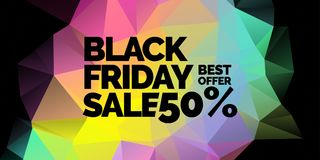Original black friday poster. Abstract polygonal background. Low poly design. Stock Photo