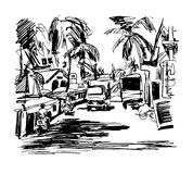 Original black and white digital drawing of India Goa Calangute Royalty Free Stock Photo