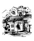 Original black and white digital sketch of Kyiv, Ukraine town Royalty Free Stock Photo