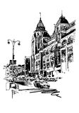 Original black and white digital sketch of Kyiv, Ukraine town Royalty Free Stock Images