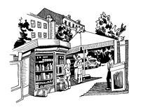 Original black and white digital sketch of street cafe with peop Stock Image