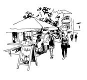 Original black and white digital sketch of street cafe Royalty Free Stock Image