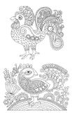 Original black and white line art rooster drawing, page of color Royalty Free Stock Image