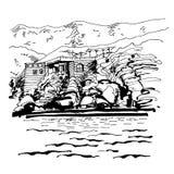 Original black and white sketch drawing of Sveti Stefan island. In Montenegro, Balkans, Adriatic sea, Europe, travel vector illustration Stock Photo