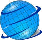Original blue  globe with shadow Royalty Free Stock Images