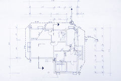 Original Blueprint. Blueprint of my own house - beautiful background image Stock Photos