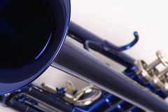 Original blues. Close up of a blue trumpet Royalty Free Stock Photo