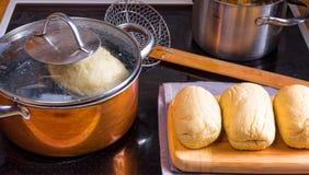 Original Bohemian dumplings preparation. Stock Photo
