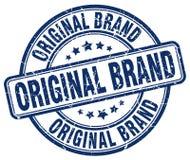 Original brand blue stamp. Original brand blue grunge round stamp isolated on white background Stock Photo