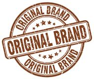 Original brand brown stamp. Original brand brown grunge round stamp isolated on white background Stock Images