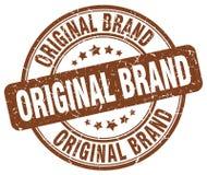 Original brand brown stamp. Original brand brown grunge round stamp isolated on white background Stock Image