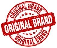 Original brand red stamp. Original brand red grunge round stamp isolated on white background Royalty Free Stock Photos