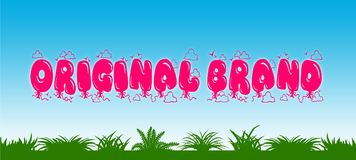 ORIGINAL BRAND written with pink balloons on blue sky and green grass background. Stock Photography