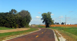 Original brick section of Route 66. An original brick segment of the historic Route 66 in Illinois Stock Images