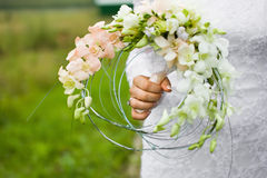 Original bridal bouquet and wedding ring Stock Photo