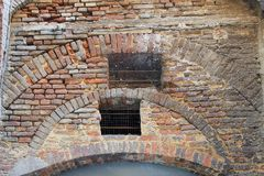 Original Building Brickwork, Old Siena, Italy Royalty Free Stock Images