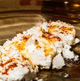 Original bulgarian cheese with hot red paprika Stock Photography