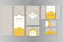 Original business set or menu set with arabic geometric pattern with stars. Business set or menu set with traditional arabic geometric pattern with stars Stock Image