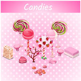 Original candy trees on a pink point background Royalty Free Stock Image