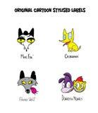 Original cartoon stylised labels. Stock Image