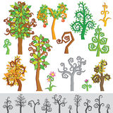 Original Cartoon Tree, Flower, Plant Royalty Free Stock Images