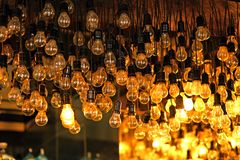 Original chandelier composed of thousands of old lamps. Very original chandelier composed of thousands of old lamps decorative classic hanging illumination royalty free stock photography