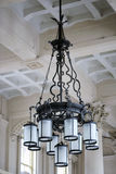 Original chandelier from the entrance hall of the Luz Station in Stock Image