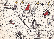 Original child illustration of winter landscape (ink on paper) Royalty Free Stock Images