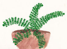 Original child painting of fern in flowerpot Stock Image