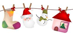 Original Christmas background. With decorations hanging from a wire with wooden clothespins vector illustration