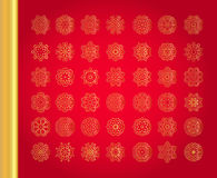Original Christmas decoration set. Golden vector traditional snowflakes on red background Stock Photo