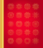 Original Christmas decoration set. Golden vector traditional snowflakes on red background Royalty Free Stock Photo