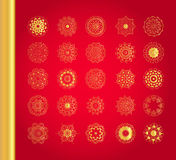 Original Christmas decoration set. Golden vector traditional snowflakes on red background Royalty Free Stock Photography