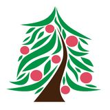 Original Christmas tree icon vector. Curved brown trunk, green branches, red Christmas balls vector illustration