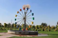 The original city fountain mill wheel and bucket, Eskishehir. Turkey stock photo