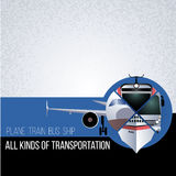 Original collage with different types of transport. The concept for banner, flyer, advertising travel agencies. The plane, bus, tr Stock Photos