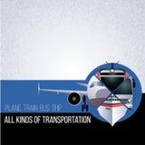 Original- collage med olika typer av transport Begreppet för banret, reklamblad som annonserar loppbyråer Nivån, buss, tr Arkivfoton